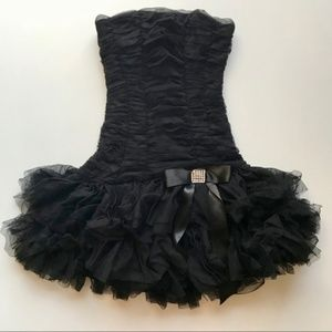 Cache Short Black Strapless Formal Prom Dress